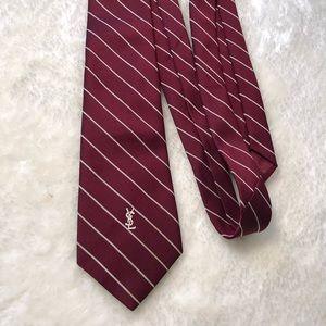 Yves Saint Laurent Striped Red Necktie